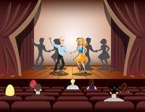 Танцы пар на этапе театра иллюстрация штока