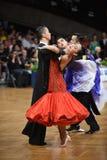 Танцы пар танца бального зала на конкуренции Стоковые Фото