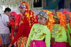 Танцы ребенка в фестивале 2017 Calauan Pinya Стоковое Изображение