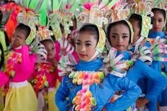 Танцы ребенка в фестивале 2017 Calauan Pinya Стоковая Фотография