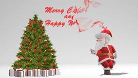 Танцы Санта Клауса около рождественской елки Концепция рождества и Нового Года Безшовная петля иллюстрация штока
