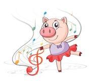 Танцы свиньи с музыкальными примечаниями бесплатная иллюстрация