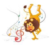 Танцы льва с музыкальными примечаниями Стоковое фото RF
