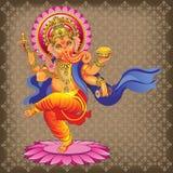 Танцы Ganesha на орнаментированной предпосылке Стоковое Изображение