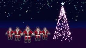 Танцы Santas/рождественская елка иллюстрация штока