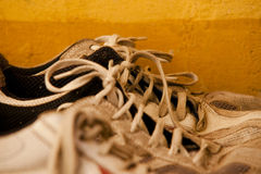 Тапки в ряд с шнурками Стоковое фото RF