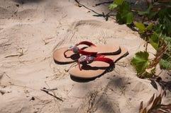 Тапочки пляжа на каникулах летнего отпуска Стоковые Изображения RF