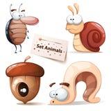 Таракан, улитка, гайки, червь - набор животных иллюстрация штока