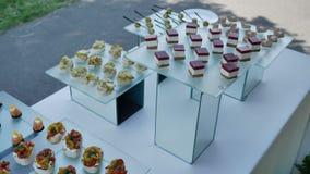 тарелки с рыбными блюдами с сыром и орехами для какого-то праздничного  сток-видео
