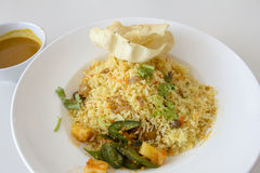 Тарелка риса Nasi Briyani индейца Стоковое фото RF