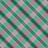 Тартан Безшовная checkered раскосная картина на зеленой предпосылке Стоковые Фотографии RF