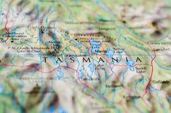 Тасмания на карте Стоковые Изображения RF