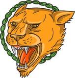 Татуировка листьев кольца рычать львицы Стоковое Фото