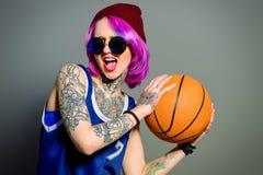 Татуировка и баскетбол Стоковая Фотография