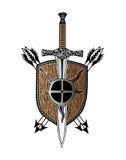 Татуировка логотипа стрелки экрана руки шпаги Викинга Стоковое Изображение RF