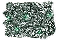 Татуировка павлина вектора Стоковое Изображение RF