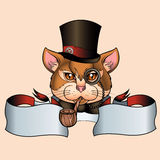 Татуировка старой школы кота Стоковое Фото