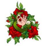 Татуировка с змейкой и рукой Стоковые Изображения