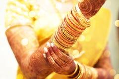 Татуировка хны, индийская невеста Стоковые Фото