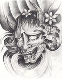 Татуировка японца Kabuki иллюстрация вектора