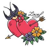 Татуировка ART Картина 2 сердца прокалыванного стрелкой Сердца татуировки с цветком и ласточкой Любовь Татуировка старой школы кр бесплатная иллюстрация
