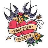 Татуировка ART Картина 2 сердца прокалыванного стрелкой Сердца татуировки с цветком и ласточками навсегда совместно иллюстрация штока