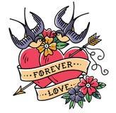 Татуировка ART Картина Сердца татуировки 2 прокалыванные стрелкой Сердца с цветками, лентой и ласточками навсегда влюбленность кр иллюстрация вектора