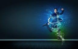 Талантливый жизнерадостный бизнесмен скача с накаляя энергией выравнивается Стоковые Изображения RF