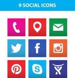 Таллин, Эстония - 26-ое июня 2016: Комплект популярных социальных значков средств массовой информации: Facebook, Twitter, Pintere Стоковые Фото