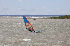 Таллин, Эстония 10-ое июля: Ветер занимаясь серфингом в Балтийском море Таллин, Стоковые Фото