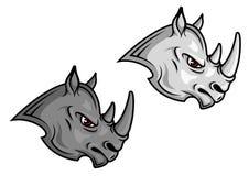 Талисманы носорога шаржа Стоковые Изображения