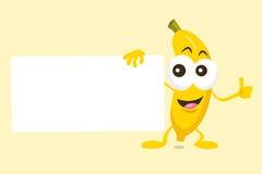 Талисман банана с ярлыком предложения Стоковые Изображения RF