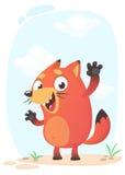 Талисман лисы милого шаржа смешной забавный и excited также вектор иллюстрации притяжки corel Стоковое Изображение RF