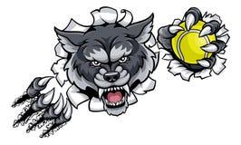 Талисман тенниса волка ломая предпосылку Стоковое Изображение