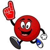 Талисман Dodgeball бежать с пальцем пены иллюстрация вектора