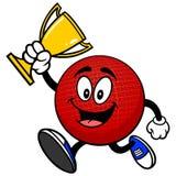 Талисман Dodgeball бежать с трофеем иллюстрация вектора