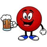 Талисман Dodgeball с пивом иллюстрация вектора