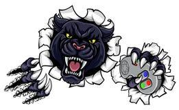 Талисман Esports черной пантеры сердитый Стоковые Изображения RF