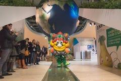 Талисман Foody представляя бит 2015, международный обмен туризма в милане, Италии Стоковая Фотография RF