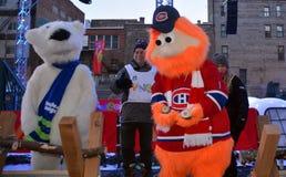 Талисман Youppi! и полярный медведь Стоковое Изображение RF