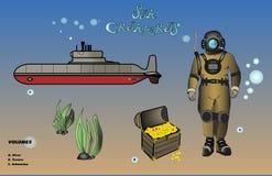 Твари моря, водолаз иллюстрация вектора