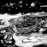 Твари моря - иллюстрация нарисованная рукой тварей моря заселяя загрязнянный бечевник иллюстрация вектора