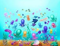 Твари моря, осьминог, медуза стоковые изображения rf