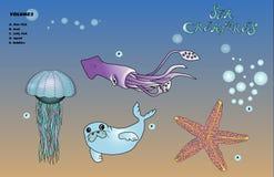 Твари моря иллюстрация штока