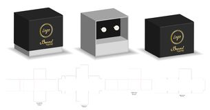 Твердая коробка рукава умирает насмешка отрезка вверх по вектору шаблона иллюстрация штока