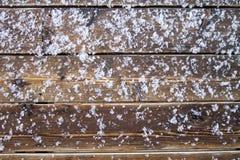 Твердое тело замерли снегом, который на моей палубе Стоковое Фото