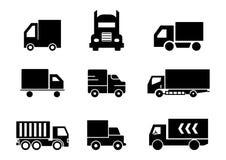 Твердые значки перевозят набор на грузовиках иллюстрация вектора