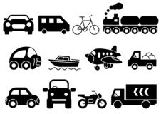 Твердый набор транспорта значков иллюстрация штока