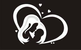 Твердые черные мать и ребенок Стоковое фото RF