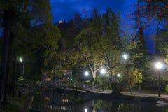 Твердыня Anakopia на иберийской горе на ноче Стоковая Фотография